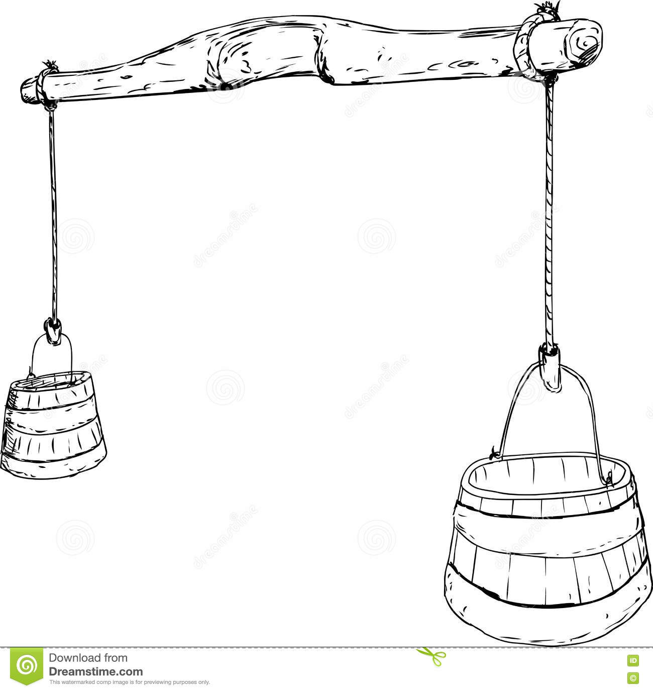 Outline Sketch Of 18th Century Yoke With Buckets Stock