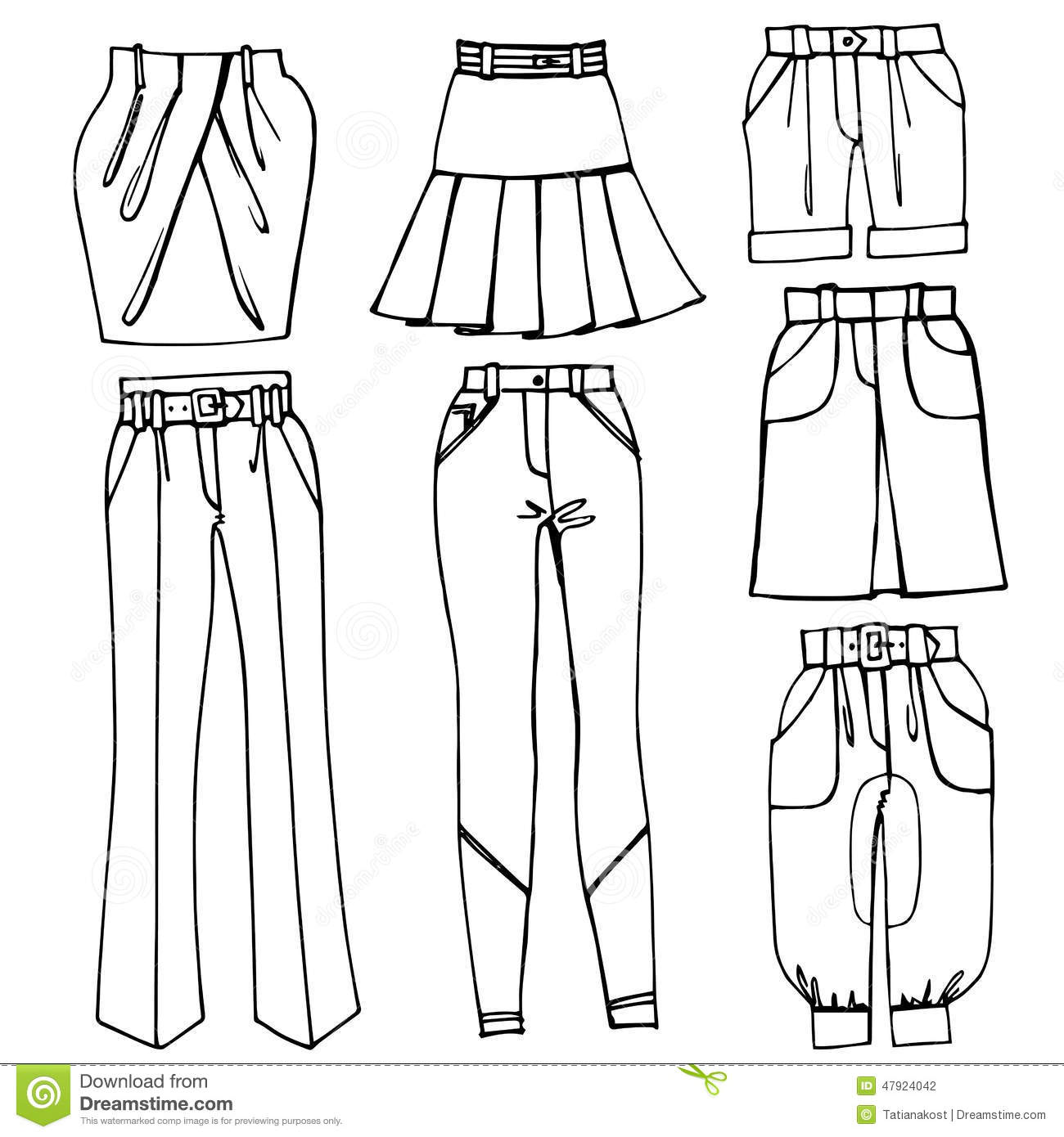 Outline Sketchy Clothing.Females Skirts,trousers Stock
