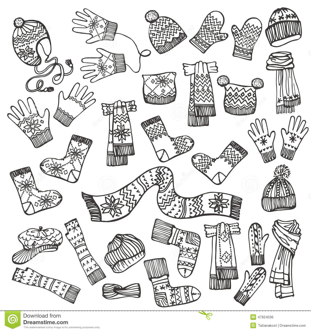 Outline Sketchy.Females Knitted Clothing Stock Vector