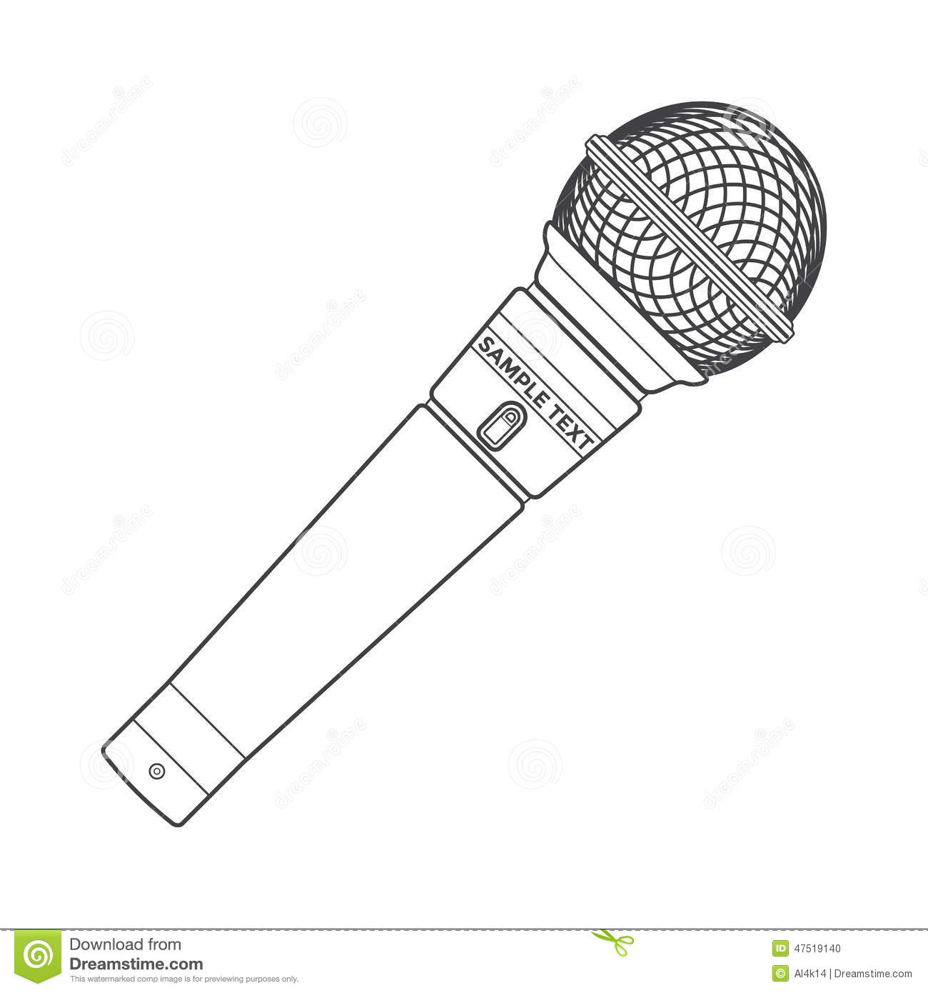 Outline stage microphone stock vector. Illustration of