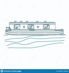 editable side view floating canal boat on wavy water vector illustration in outline style [ 1600 x 1689 Pixel ]