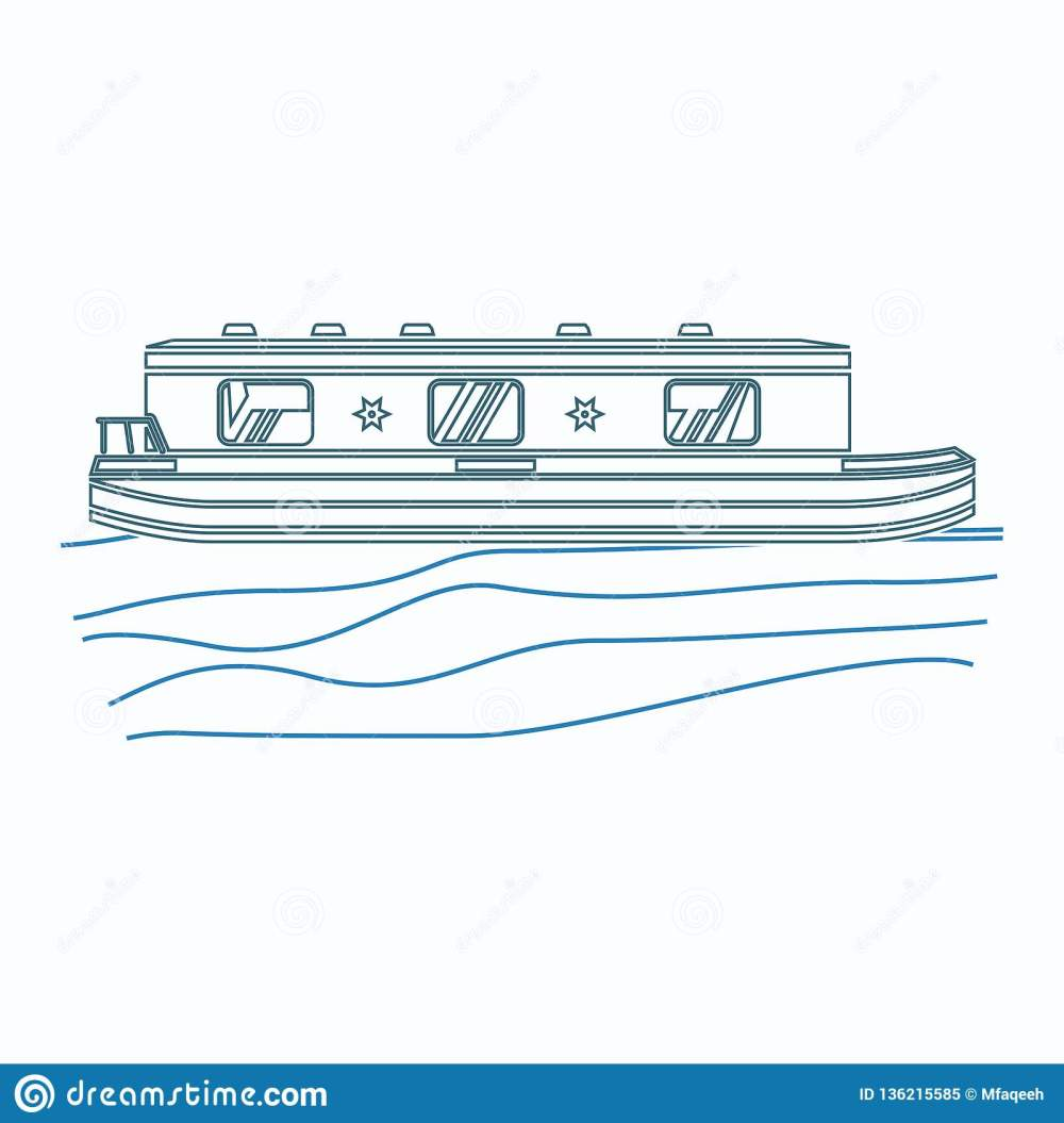 medium resolution of editable side view floating canal boat on wavy water vector illustration in outline style
