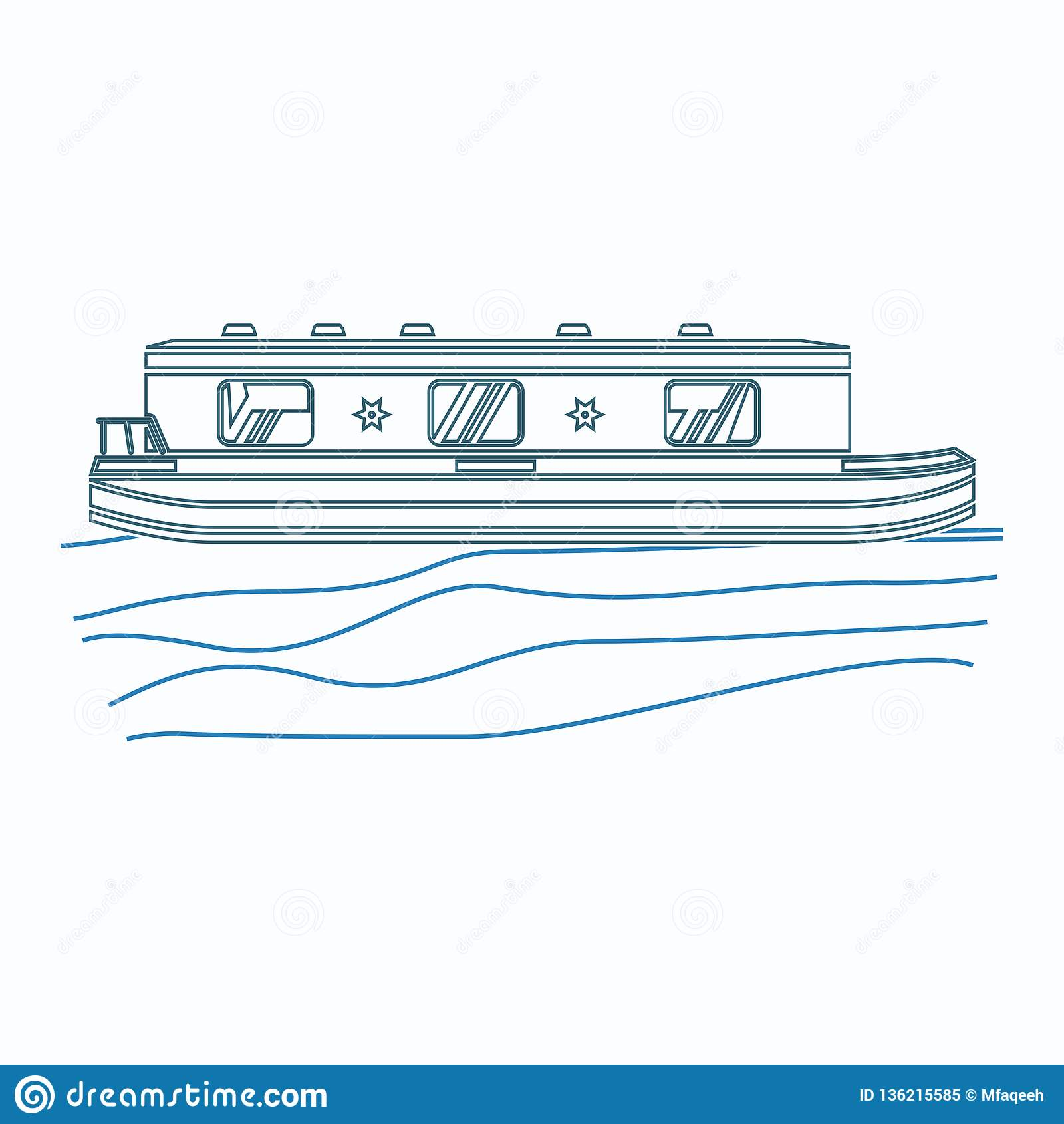 hight resolution of editable side view floating canal boat on wavy water vector illustration in outline style