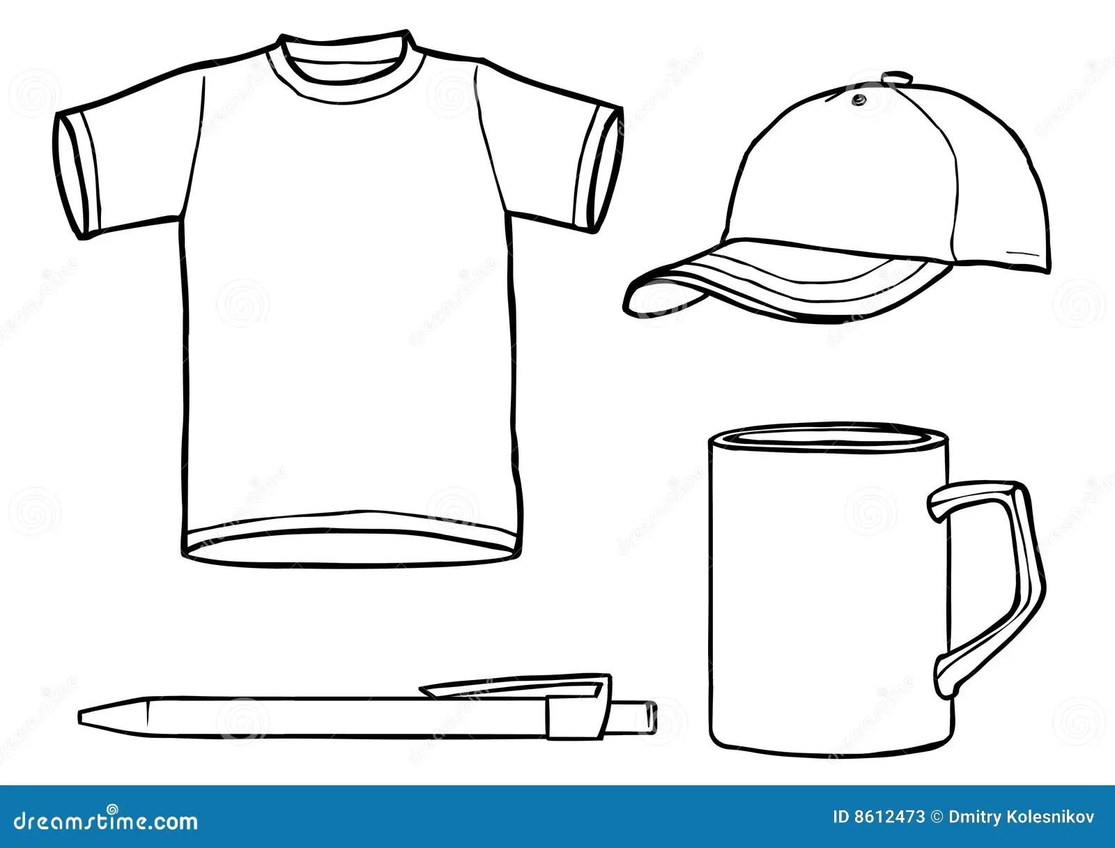 Outline Template Shirt, Cap, Mug, A Pen Stock Image