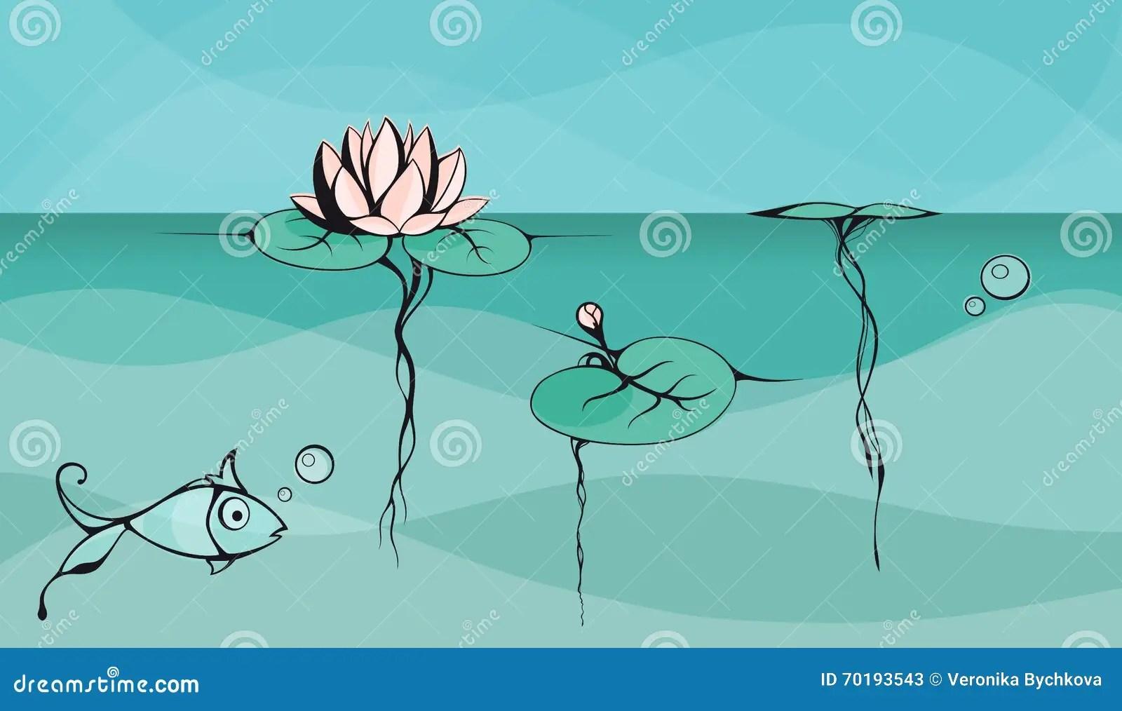lotus in water plant diagram caravan wiring diagrams 12 volt outline vector drawing of floating on the lake