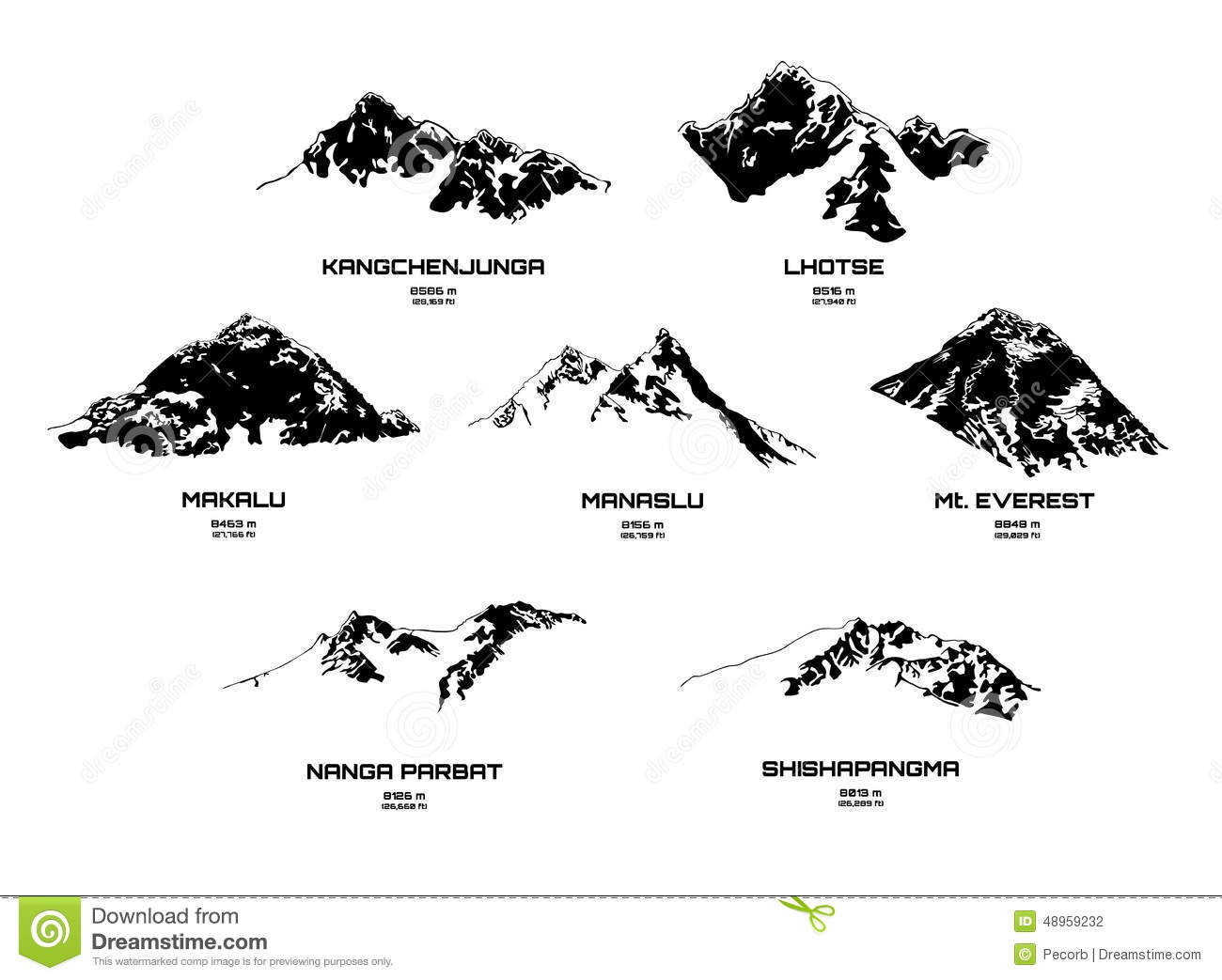 Outline Vector Illustration Of Eight Thousanders Stock