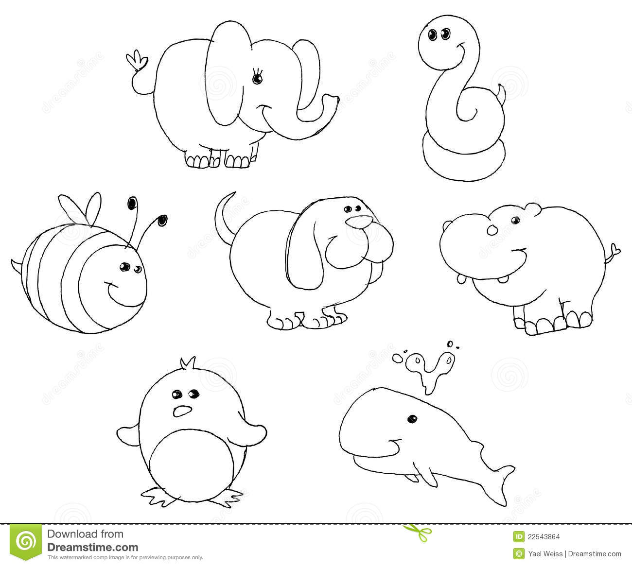 Outlined Animal Doodles Stock Images
