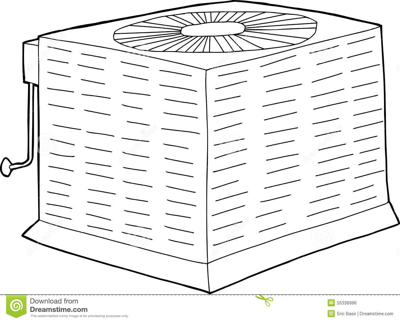Outlined Central Air Conditioner Stock Illustration