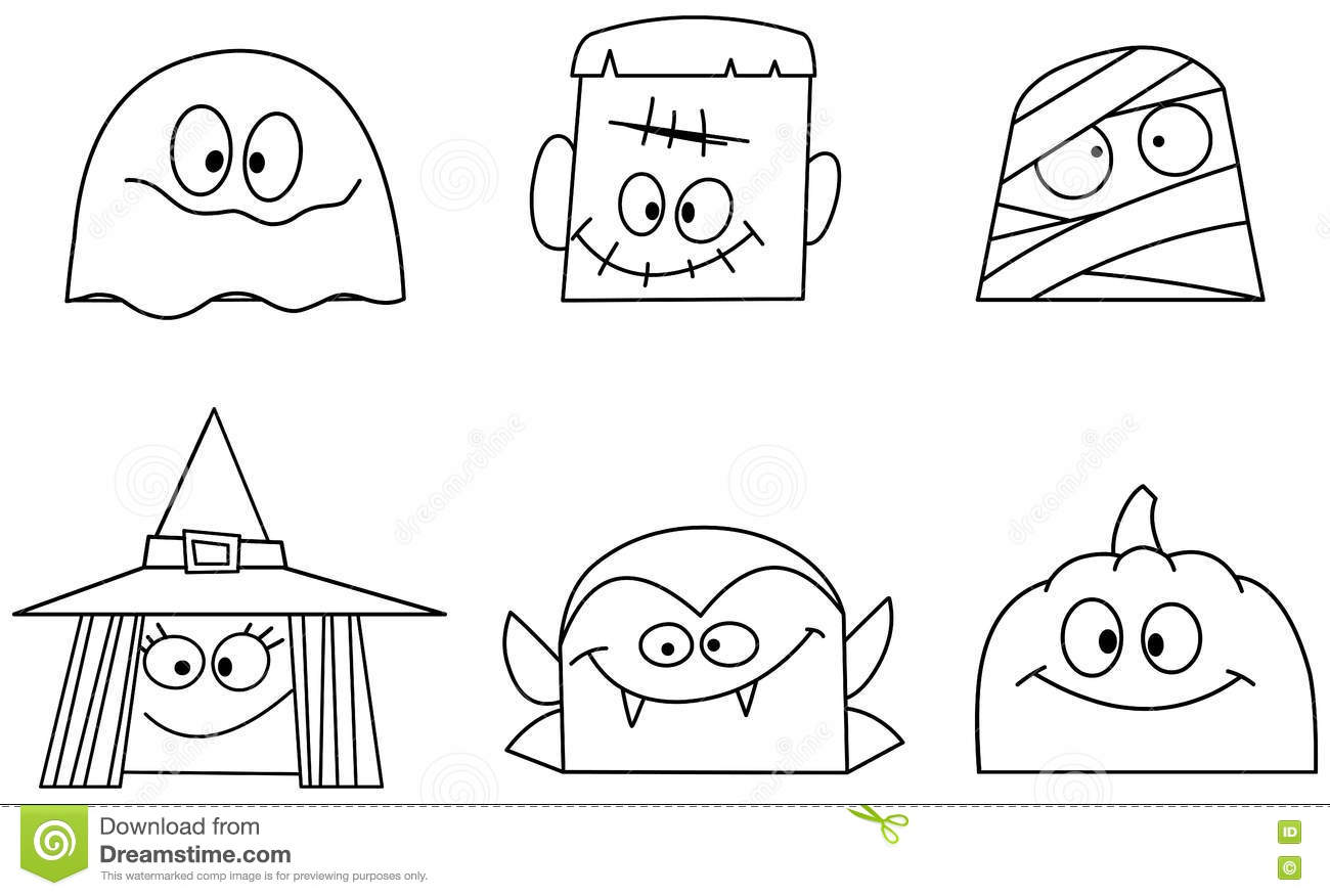 Outlined halloween faces stock vector. Illustration of