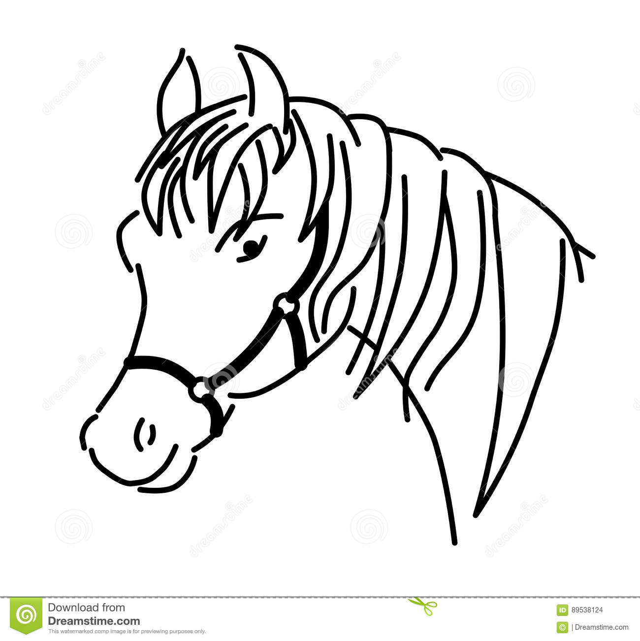 Outlined Horse Head With Harness Vector Stock Vector
