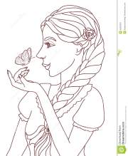 outlined illustration of pretty