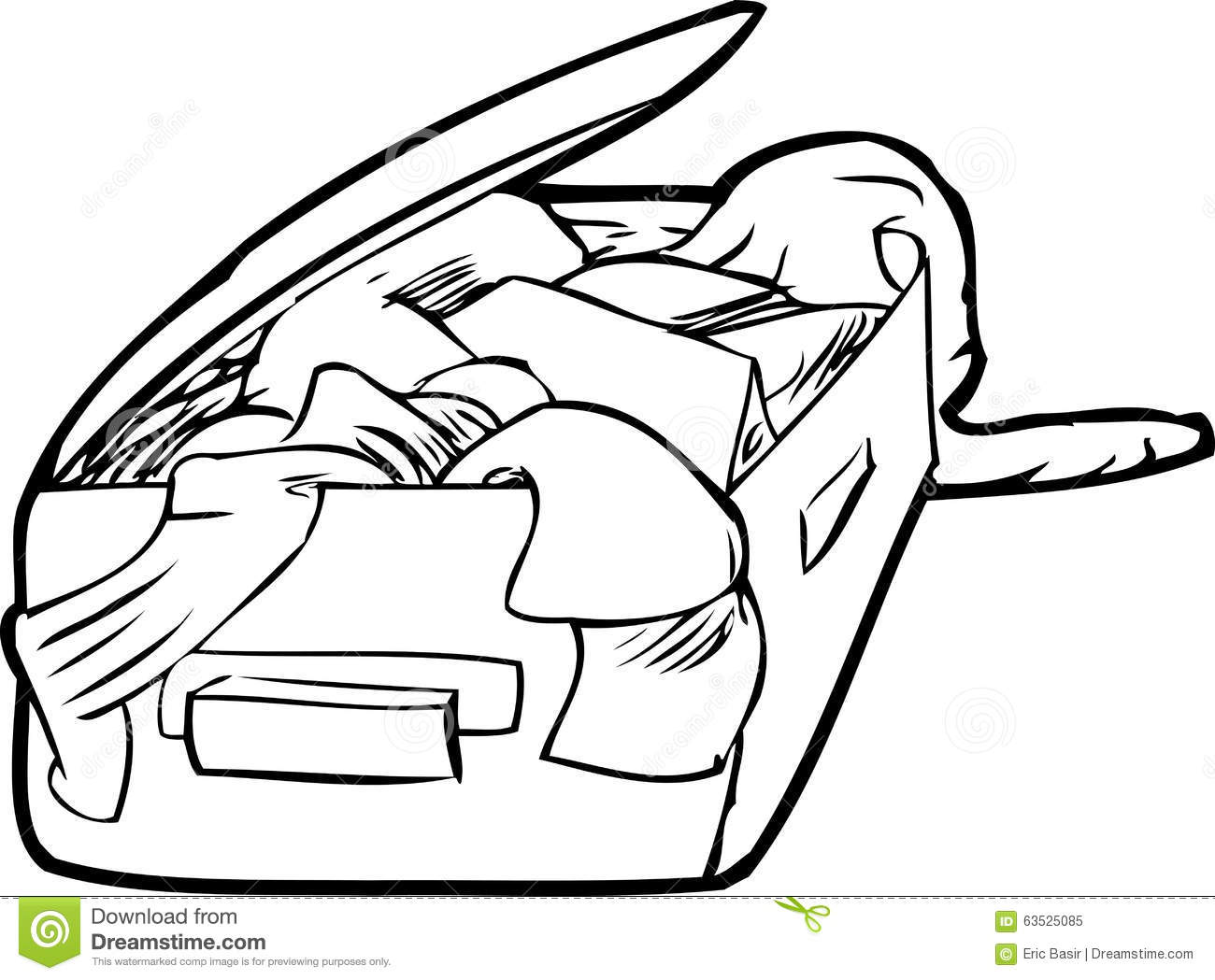 Outlined Packed Suitcase Stock Illustration Illustration