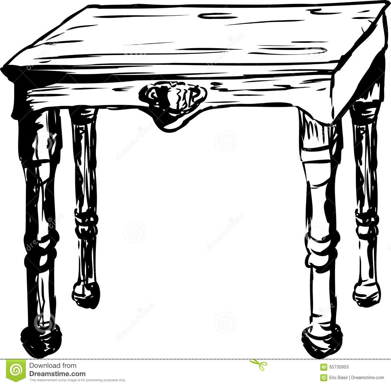 Outlined Square Table Stock Illustration Illustration Of
