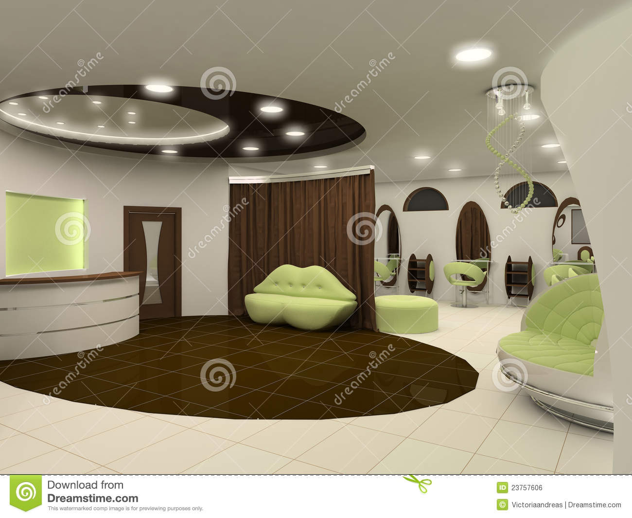 beauty salon chair folding for elderly outlook of luxury interior space stock illustration - image: 23757606