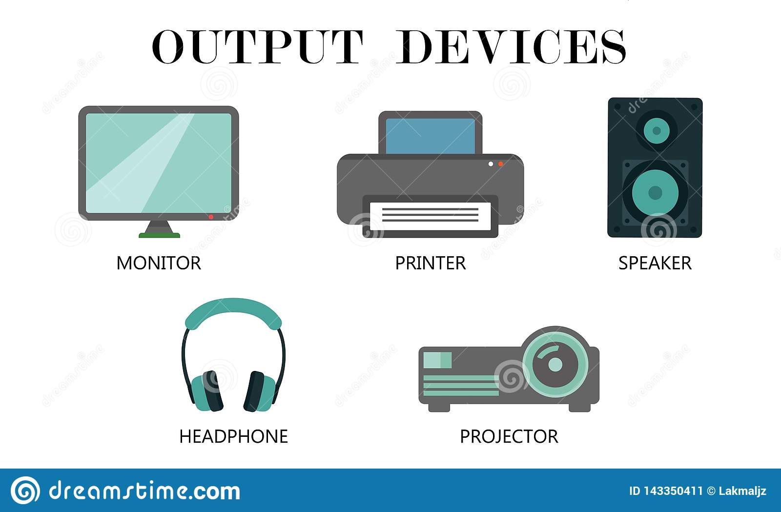 Output Devices Icon Set Stock Vector Illustration Of