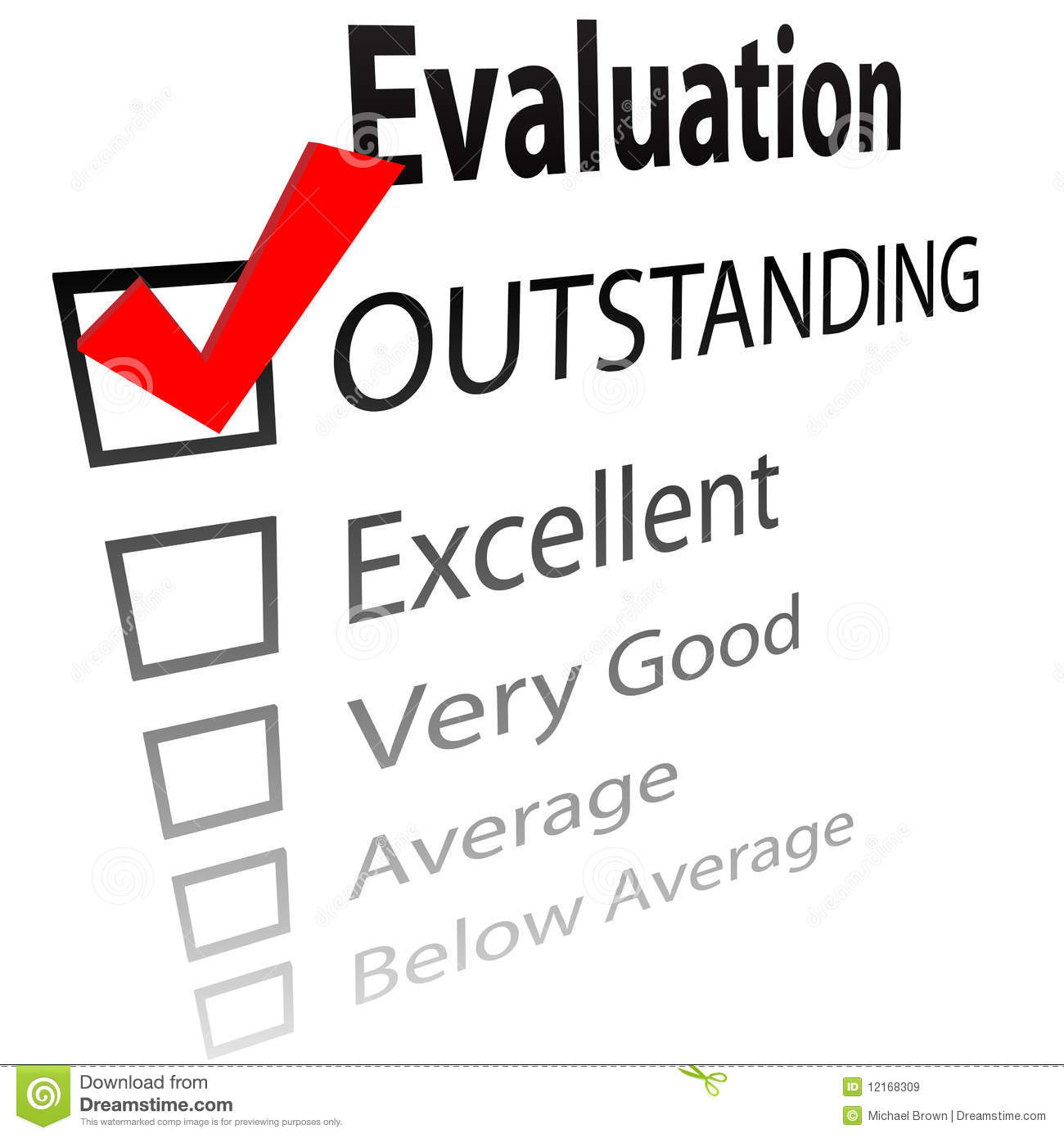 Outstanding Job Evalution Check Boxes Royalty Free Stock