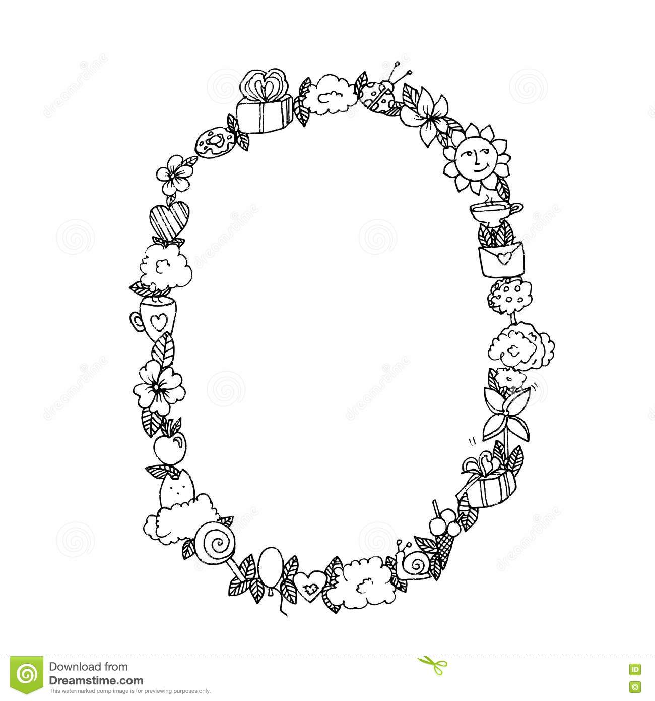 Oval Frame With Cartoon Baby Vector Illustration