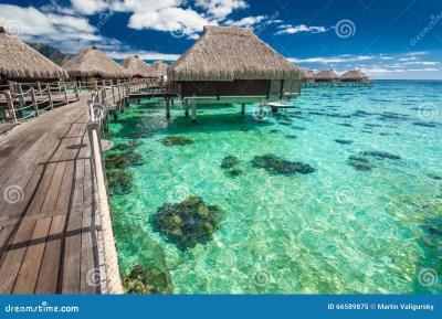 Over Water Villas On A Tropical Lagoon Of Moorea Island ...