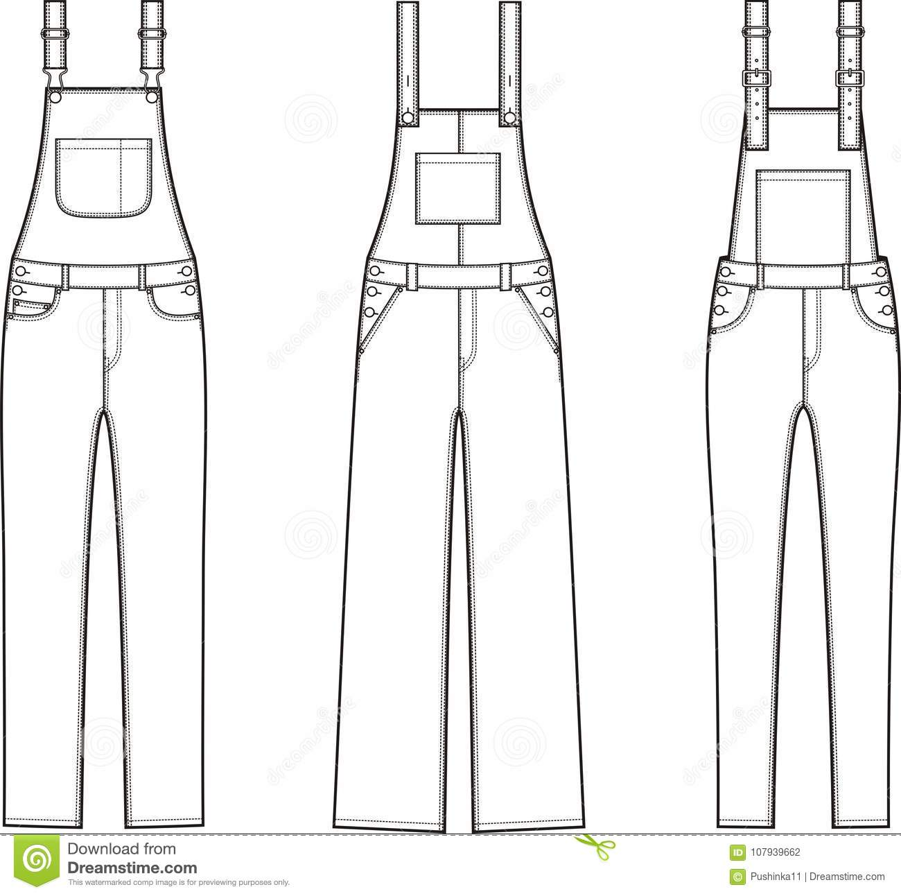 Overalls Stock Vector Illustration Of Different Drawing