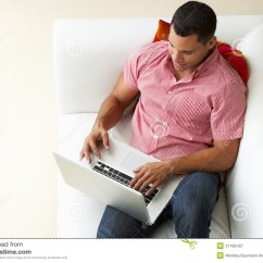2 Cushion Sofa Es Aguda O Llana Overhead View Of Man Relaxing On Using Laptop Stock ...