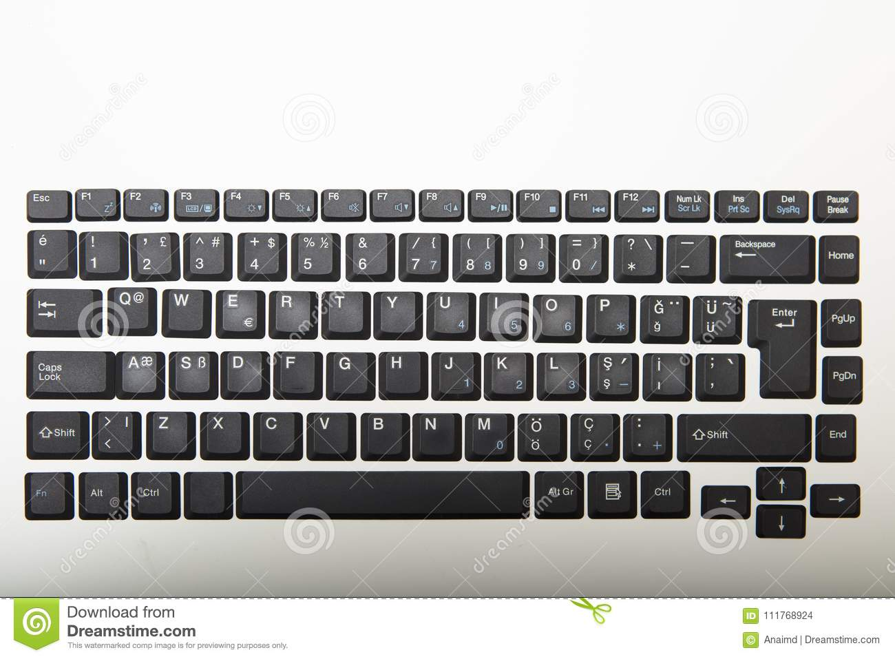 Overhead View Of A Qwerty Computer Keyboard Stock Photo