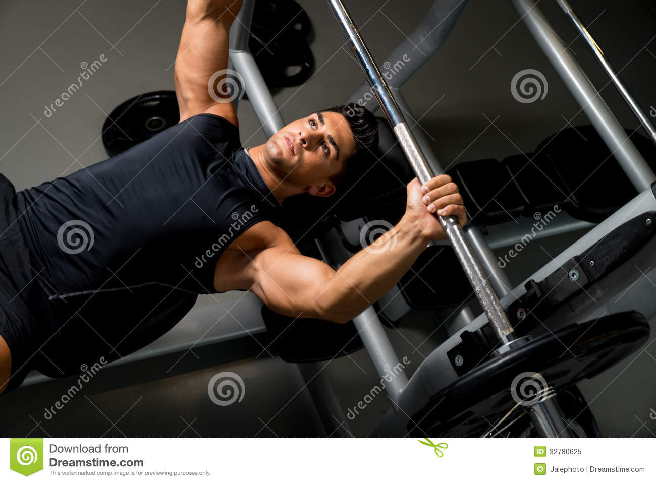 Overhead View Of Young Man Weight Lifting Stock Image