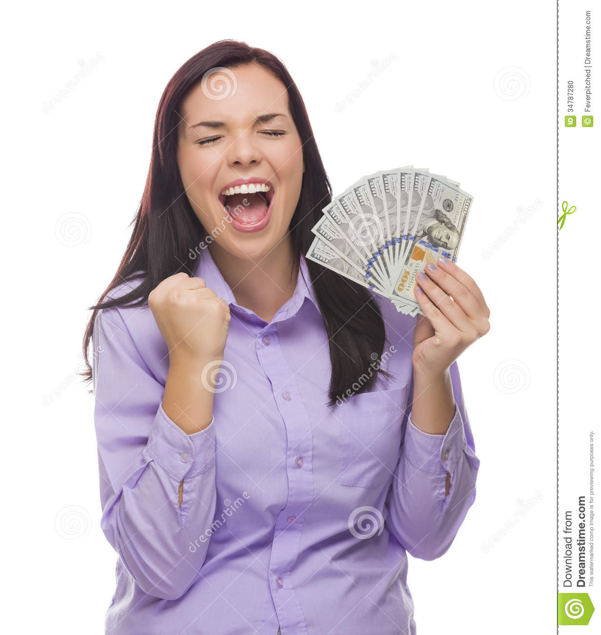 Overjoyed Mixed Race Woman Holding The New One Hundred