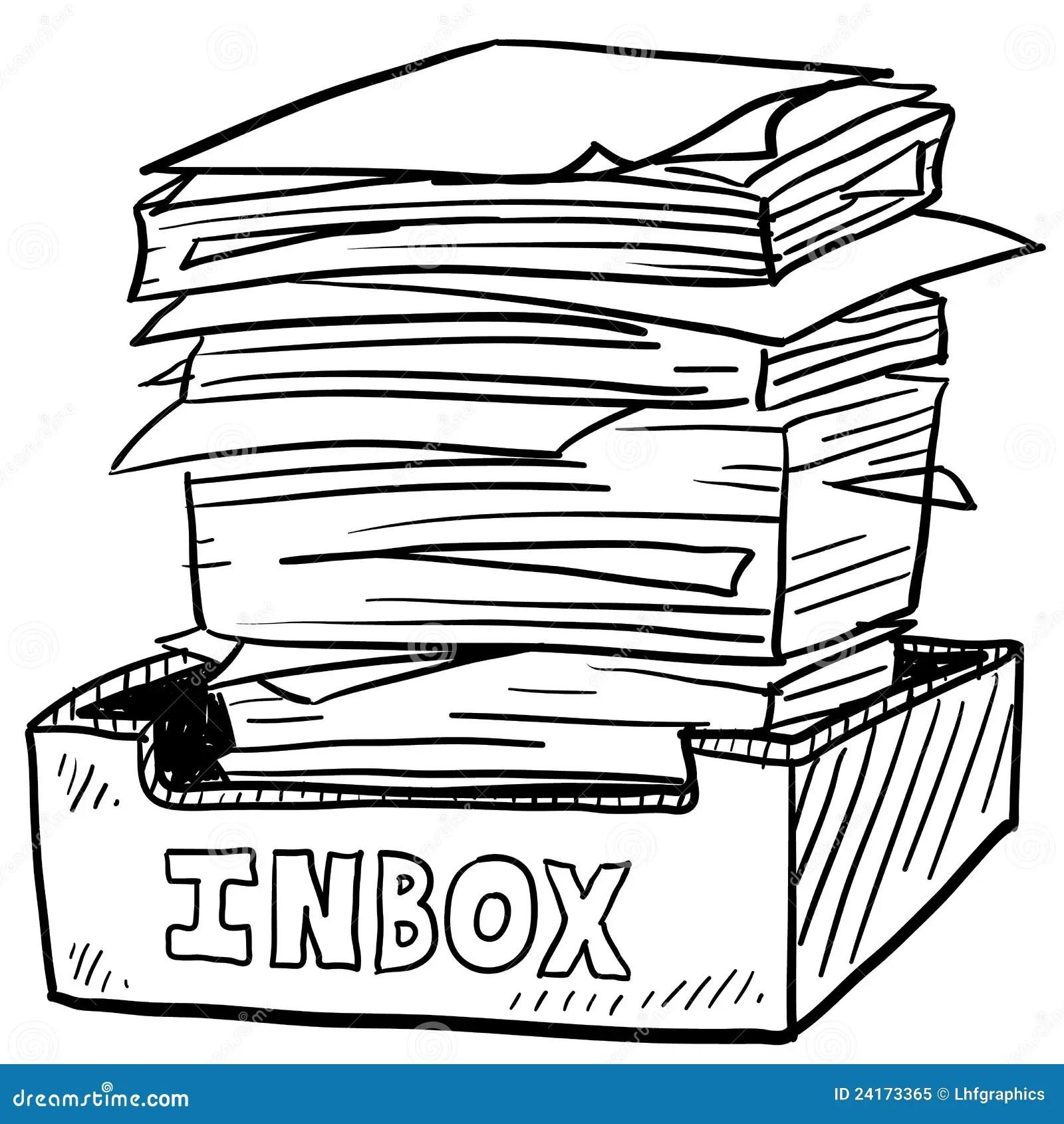 Overstuffed Inbox Work Stress Sketch Royalty Free Stock