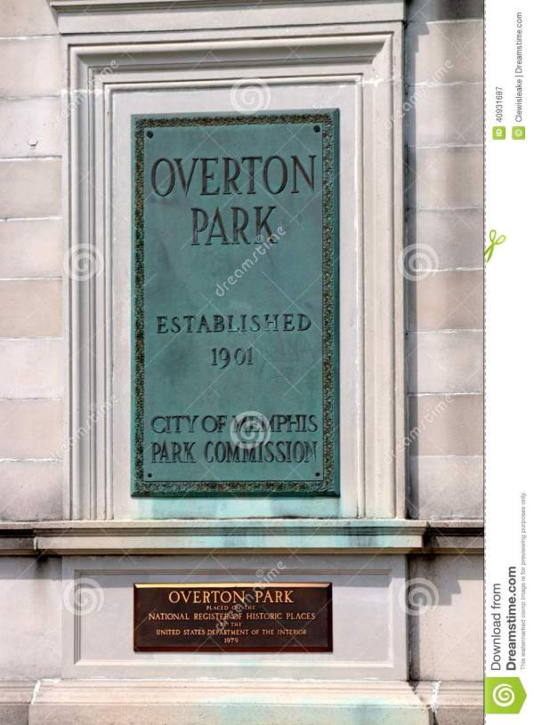 Overton Park Plaque Memphis Tennessee Editorial