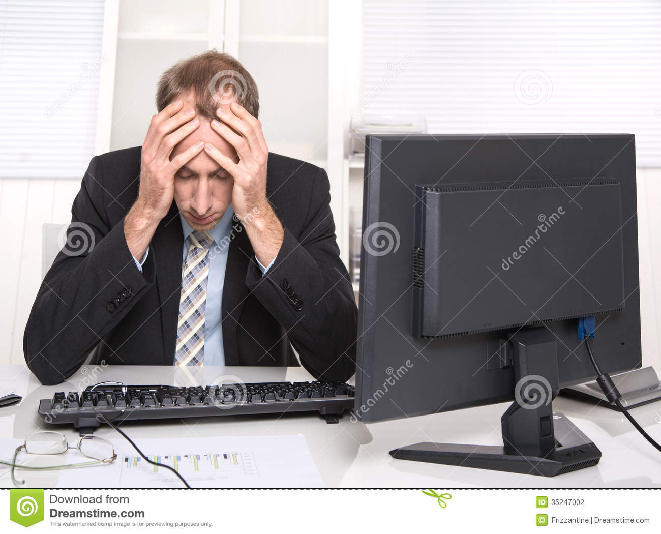 Overworked Businessman Frustrated And Stressed In His Office Stock Photo  Image 35247002
