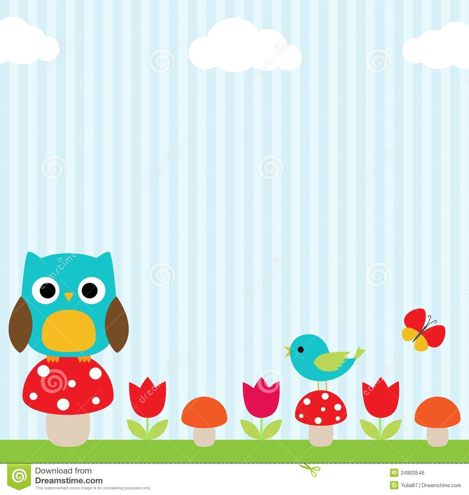 Cute Owl Wallpaper Border Owl Background Stock Vector Illustration Of Girl Flower