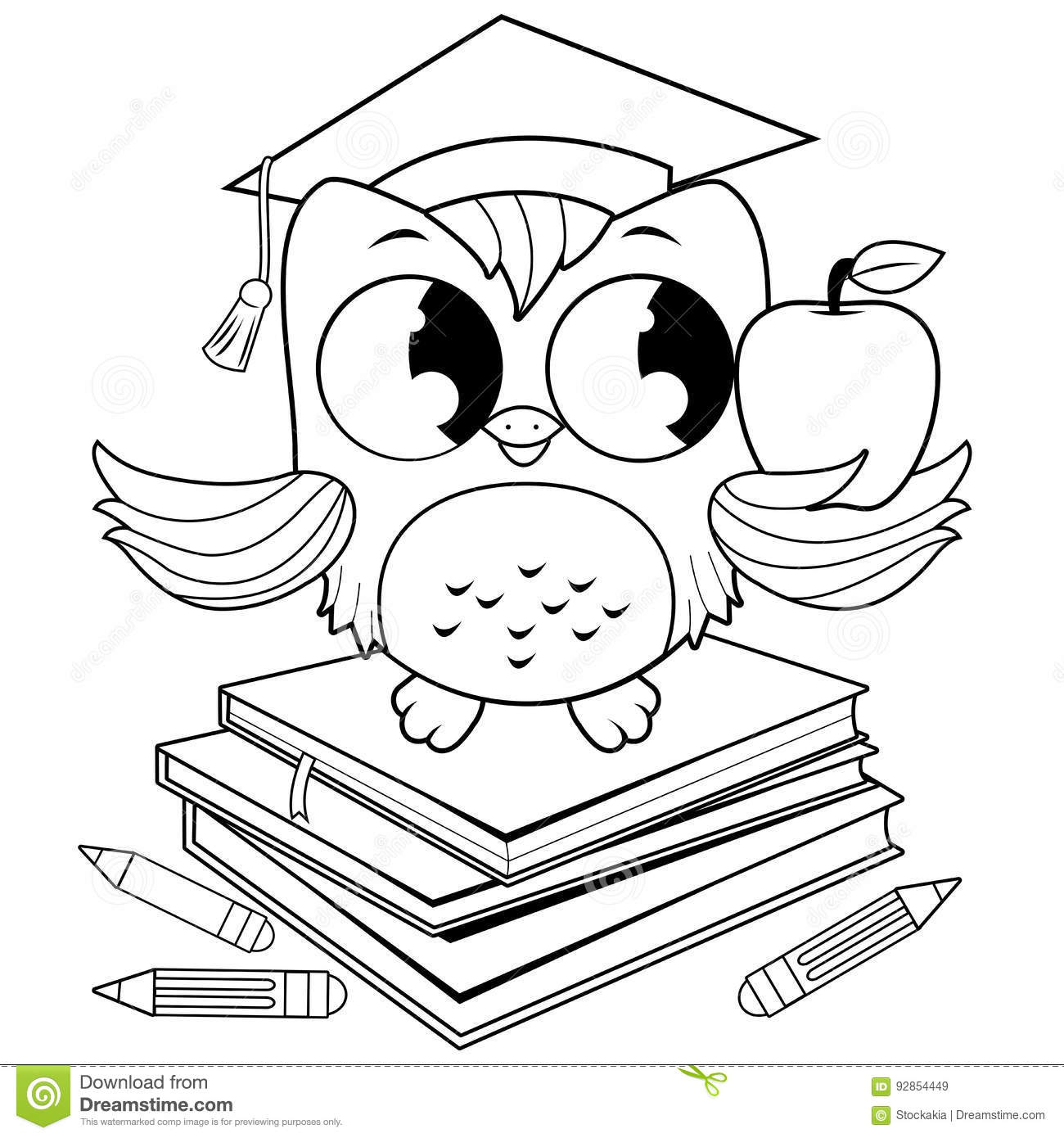 Owl On Books With Graduation Hat Coloring Book Page. Stock