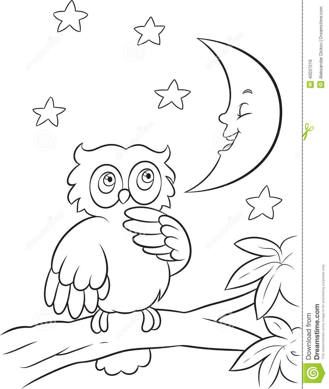 Owl Coloring Page Stock Vector Illustration Of Moon