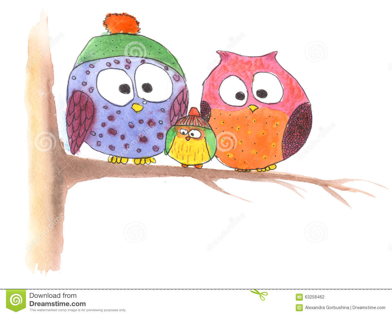 Owl Family On Tree In Simple Drawing Stock Illustration