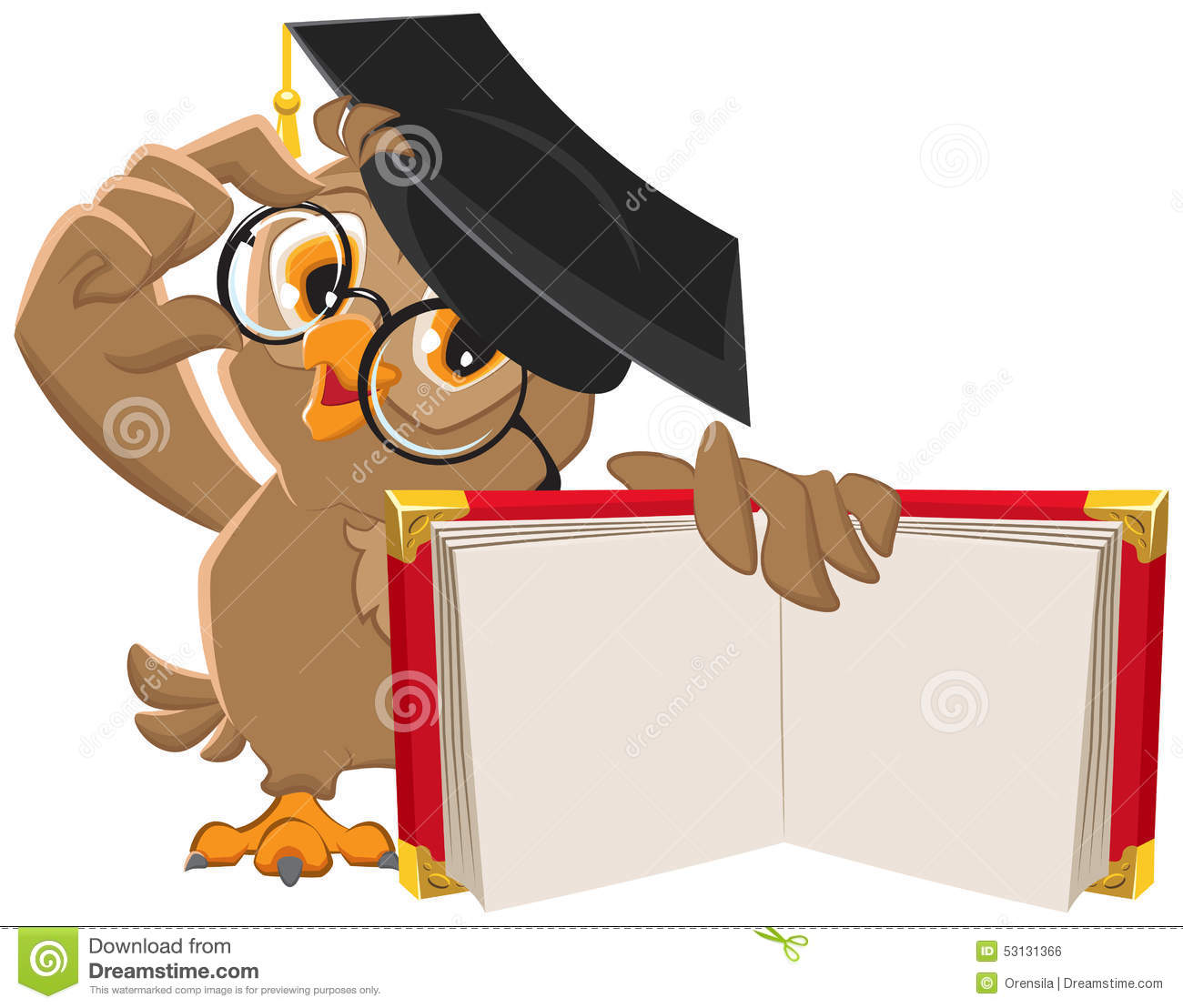 Owl holding open book stock vector Illustration of