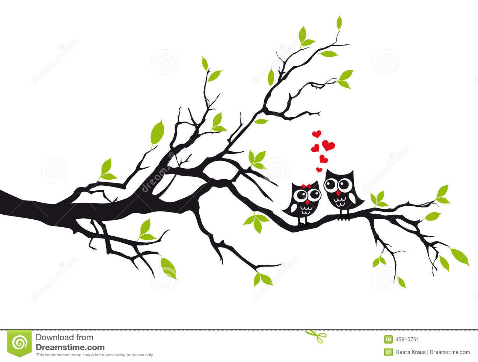 Owls In Love On Tree Vector Stock Vector