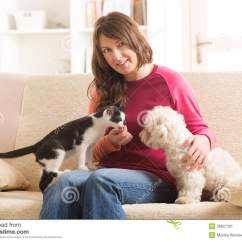 Best Sofa For Cats Owners 4 Seater Rattan Set Owner With Cat And Dog Stock Image 36907331