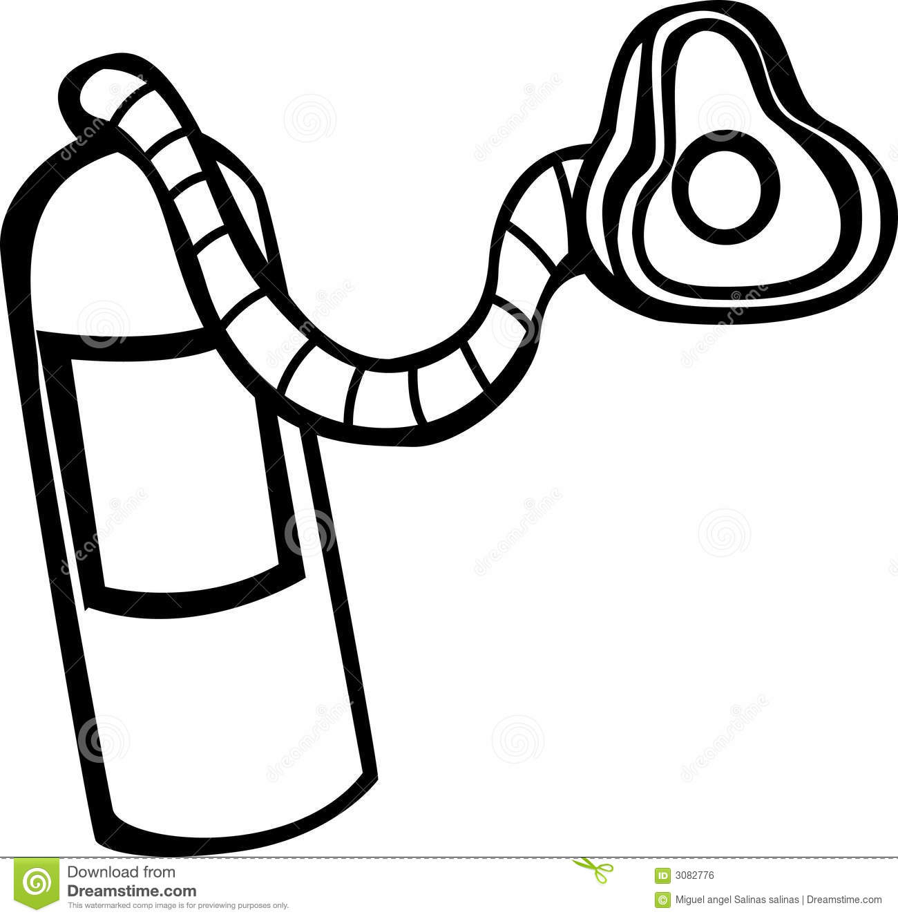 Oxygen Tank And Mask Vector Illustration Stock Vector