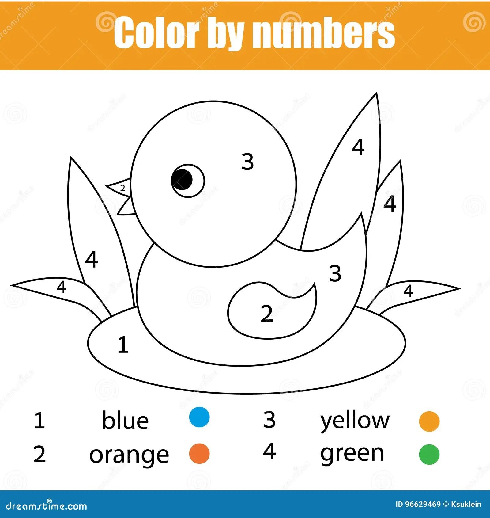 Pagina Que Colorea Con El Pajaro Del Pato El Color Por El