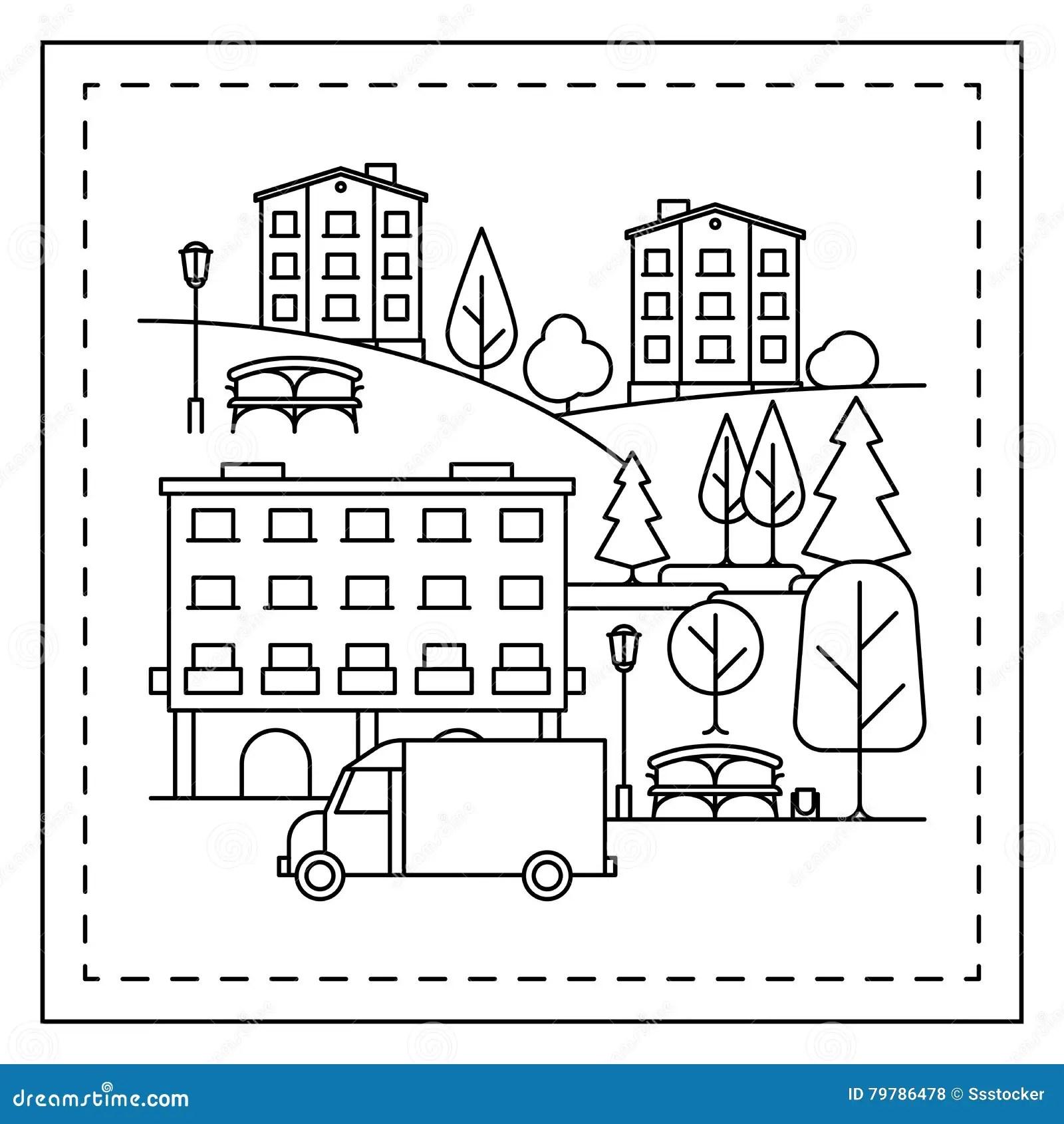 Pagina Que Colorea Con Paisaje De La Ciudad Ilustracion