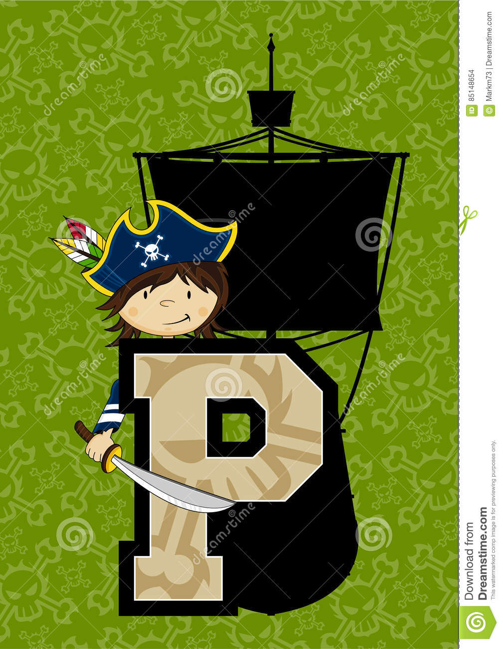 hight resolution of cute cartoon pirate captain and ship learning letter p ideal for teaching your child the alphabet