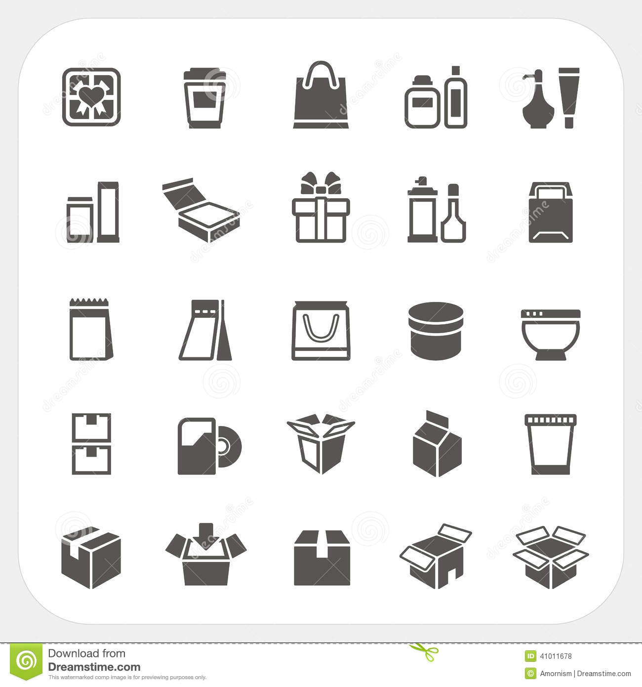 Packaging Icons Set Stock Vector