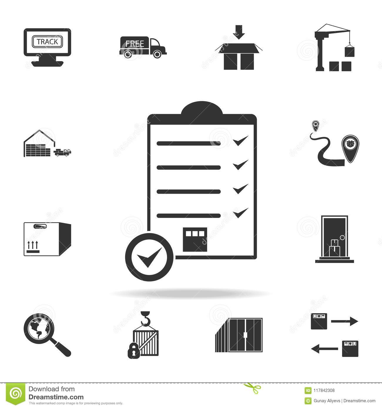 Packing Box Shipping Checklist Icon. Detailed Set Of