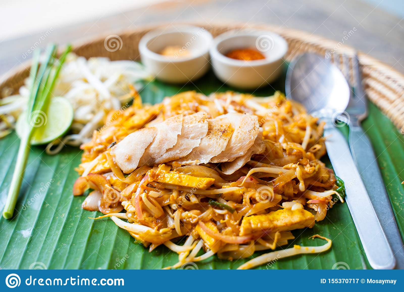 Pad Thai With Grilled Chicken Stock Image Image Of Cuisine