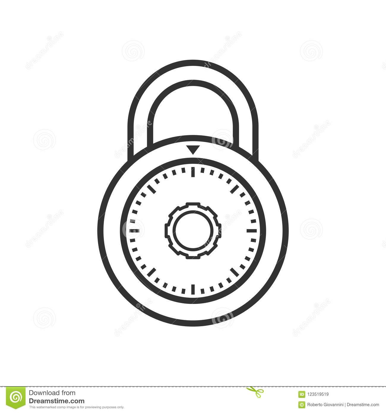 Padlock With Combination Outline Flat Icon Stock Vector