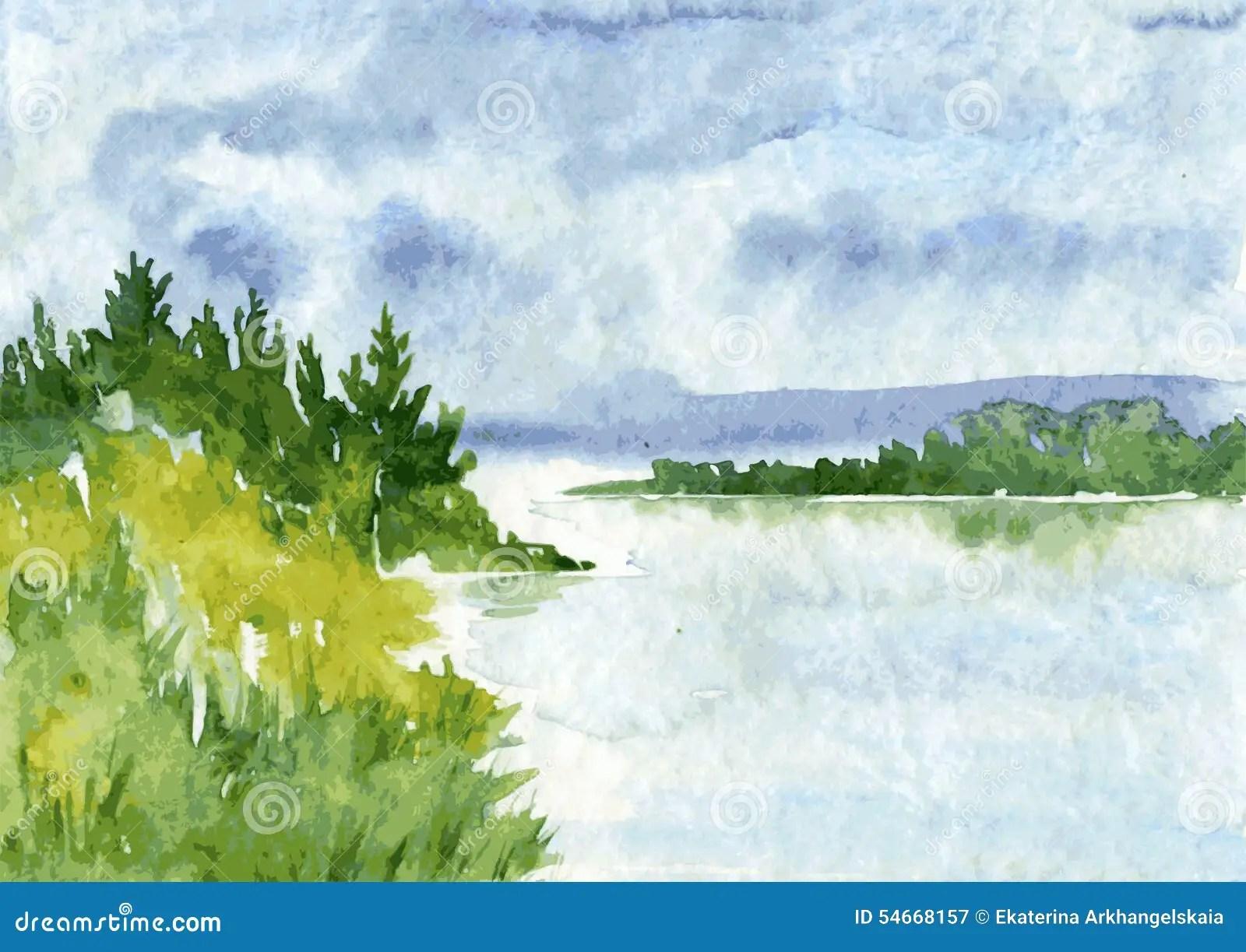 Paesaggio Astratto Dellacquerello Illustrazione Vettoriale  Immagine 54668157