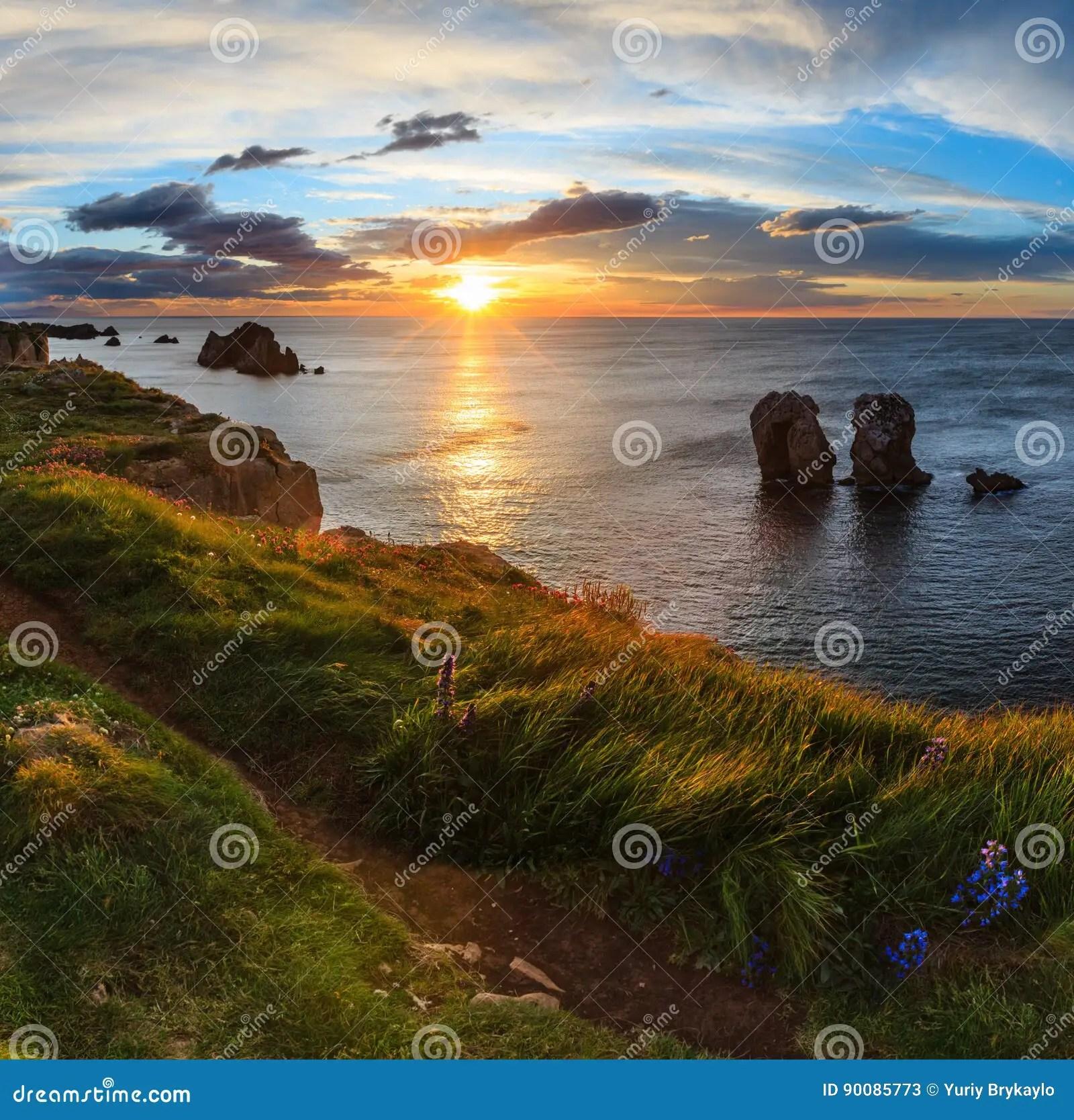 Paesaggio Atlantico Della Linea Costiera Di Tramonto