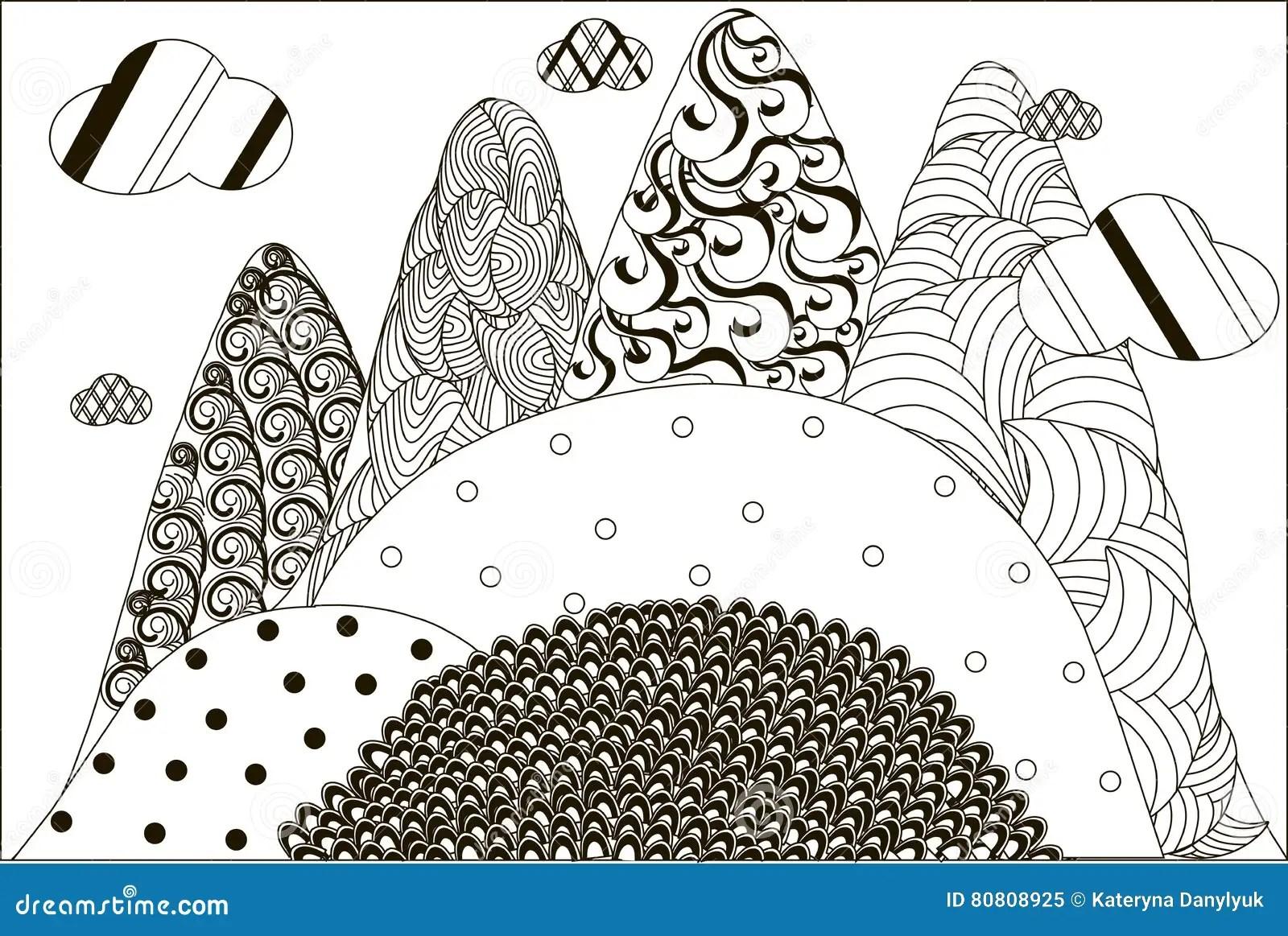 Paesaggio In Bianco E Nero Disegnato A Mano Della Montagna