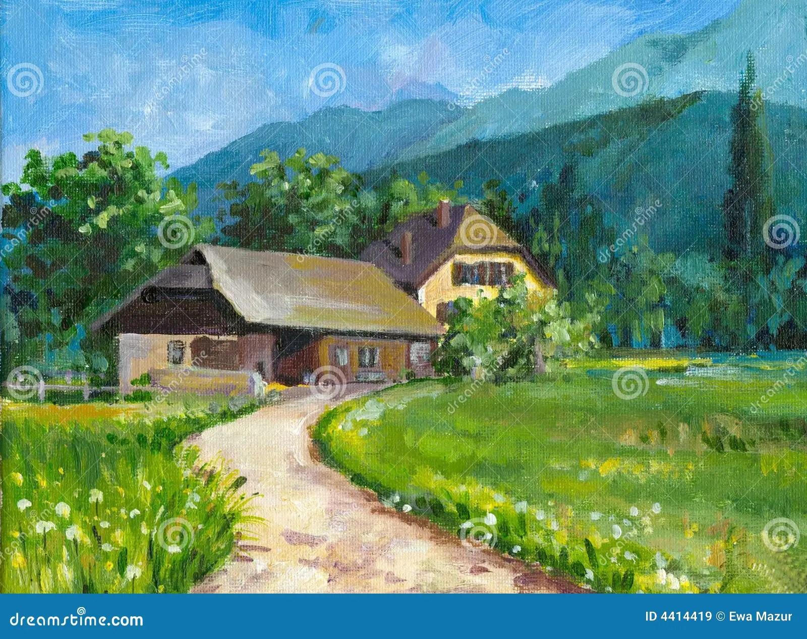 Paesaggio Con La Casa Immagini Stock Libere da Diritti  Immagine 4414419