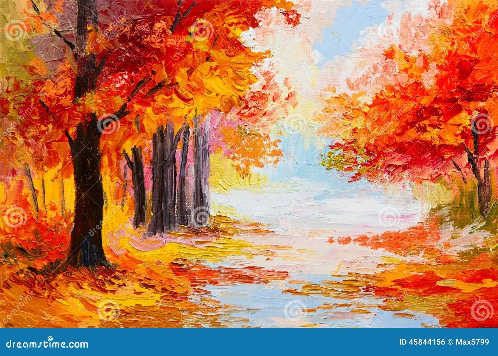 Paesaggio Della Pittura A Olio  Foresta Variopinta Di Autunno Illustrazione di Stock